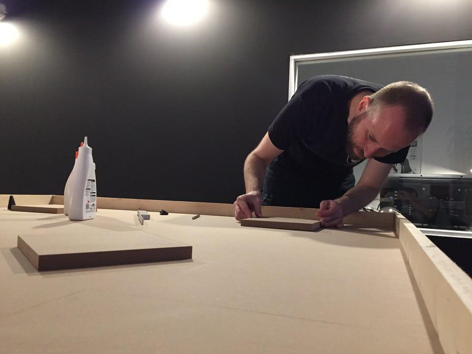 Bauarbeiten für Tonstudio-Deckenmodule